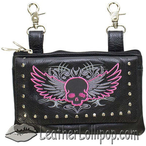 Ladies Studded Leather Belt Bag with Pink Skull Wings Design - Belt Bag - SKU LL-BAG35-EBL10-PINK-DL
