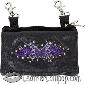 Ladies Studded Leather Belt Bag with Purple Butterfly Design - Belt Bag - SKU LL-BAG35-EBL2-PURP-DL
