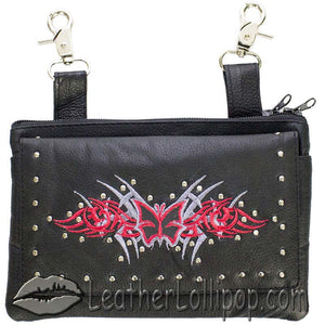 Ladies Studded Leather Belt Bag with Red Butterfly Design - Belt Bag - SKU LL-BAG35-EBL2-RED-DL