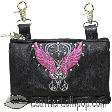 Ladies Studded Leather Belt Bag with Pink Wings Design - Belt Bag - SKU LL-BAG35-EBL8-PINK-DL