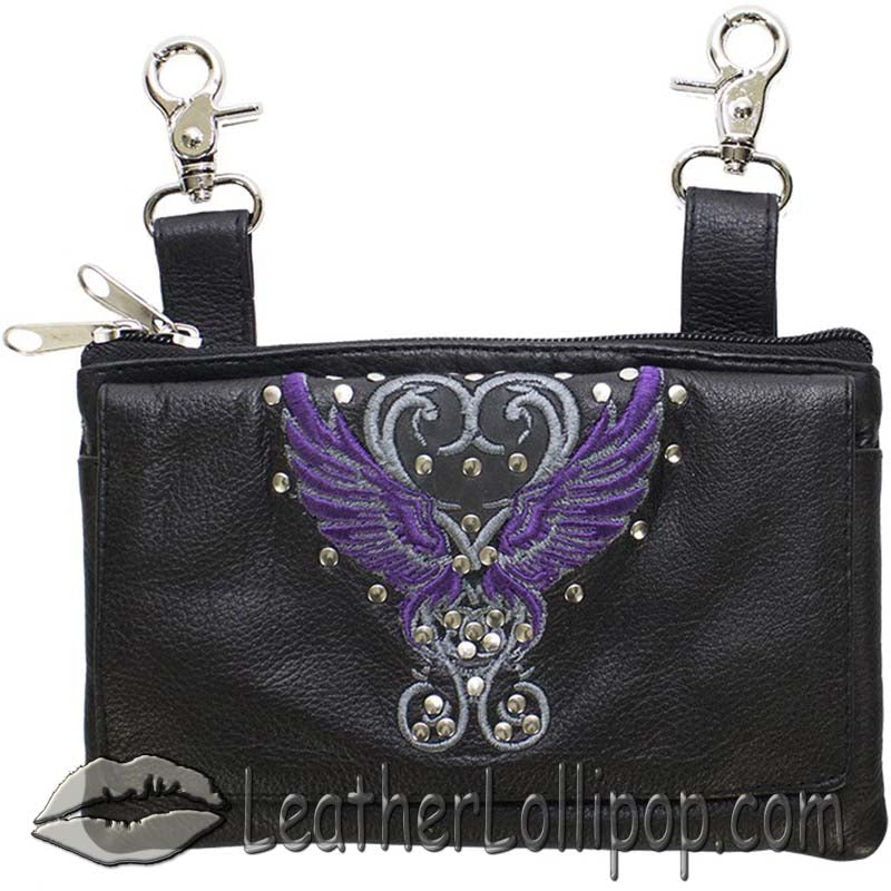 Ladies Studded Leather Belt Bag with Purple Wings Design - Belt Bag - SKU LL-BAG35-EBL8-PURP-DL