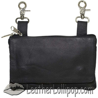 Ladies Plain Leather Belt Bag with Studs Design - Belt Bag - SKU LL-BAG35-PLAIN-DL