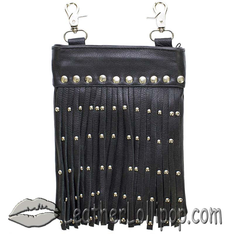 Ladies Leather Belt Bag with Fringe and Studs - Belt Bag - SKU LL-BAG37-11-DL