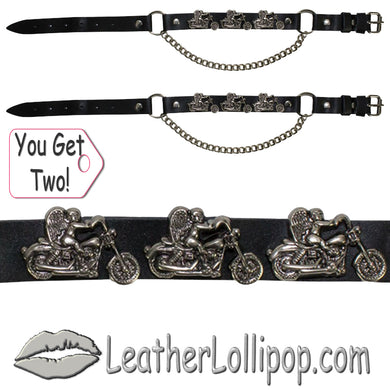Pair of Biker Boot Chains - Motorcycle Angel - SKU LL-BC1-DL - Leather Lollipop
