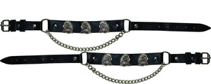 Pair of Biker Boot Chains - Eagle With USA Flag - SKU LL-BC15-DL - Leather Lollipop