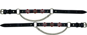 Pair of Biker Boot Chains - Fire Department - SKU LL-BC16-DL - Leather Lollipop