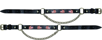 Pair of Biker Boot Chains - American Flag - SKU LL-BC6-DL - Leather Lollipop
