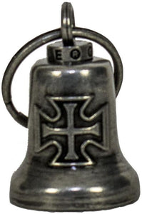 Iron Cross - Gun Metal Motorcycle Guardian Ride Bell - SKU LL-BL26-GM-DL - Leather Lollipop