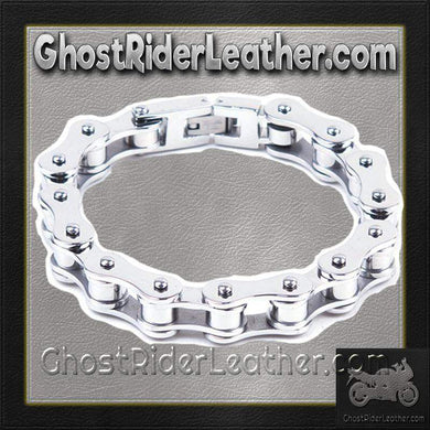 Stainless Steel Single Link Motorcycle Chain Bracelet / SKU GRL-BR12-DL