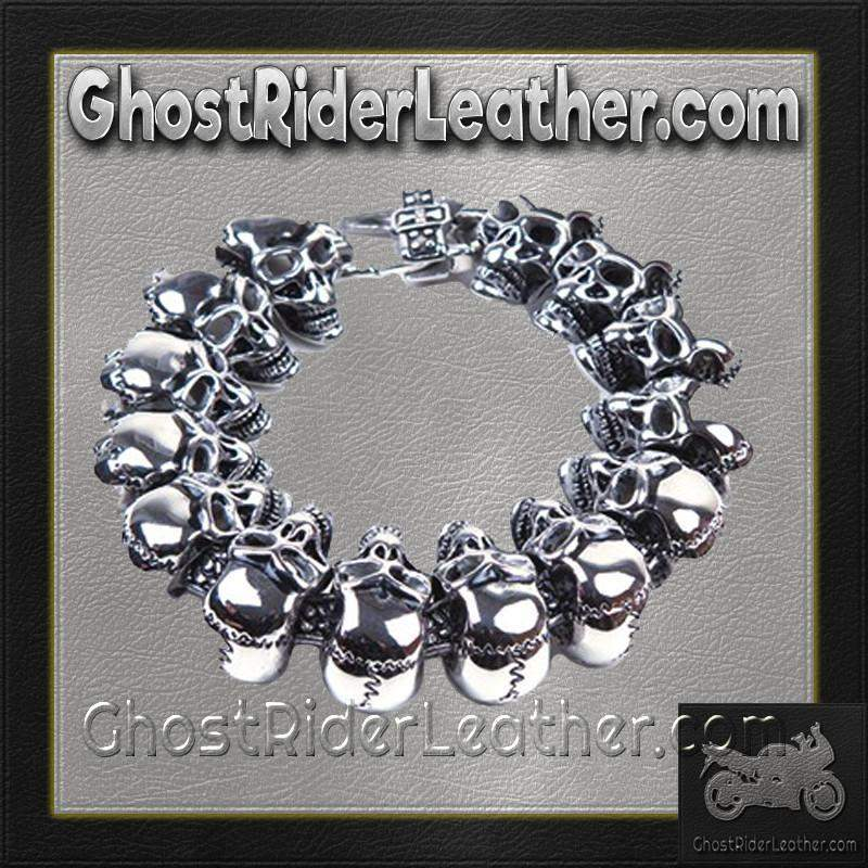 Stainless Steel Biker Bracelet with Skulls / SKU GRL-BR27-DL - Leather Lollipop
