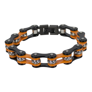 Black and Orange Motorcycle Chain Bracelet with Gemstones - SKU LL-BR36-DL - Leather Lollipop