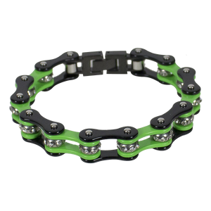 Black and Green Motorcycle Chain Bracelet with Gemstones - SKU LL-BR37-DL