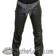 Ladies Low Rise Leather Chaps with Lace Up Back - SKU LL-C1003-11-DL