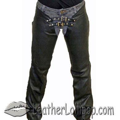 Ladies Low Rise Leather Chaps with Lace Up Back - SKU LL-C1003-11-DL - Leather Lollipop