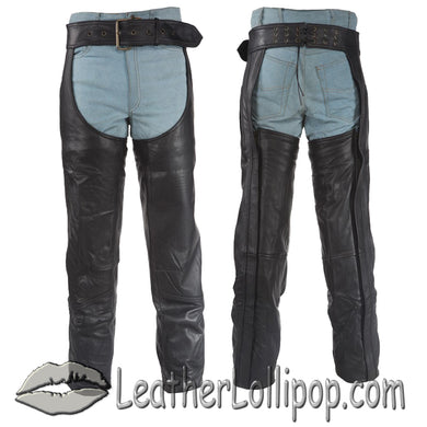 Heavy Duty Motorcycle Leather Assless Chaps With Zipper Pocket for Men or Women - SKU LL-C3000-DL - Leather Lollipop