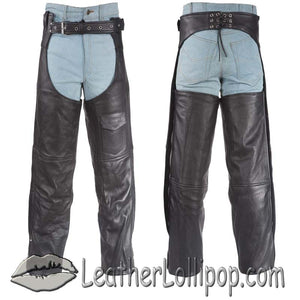Plain Motorcycle Leather Chaps for Men or Women - SKU LL-C325-04-DL - Leather Lollipop