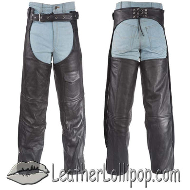 Plain Motorcycle Naked Leather Chaps for Men or Women - SKU LL-C325-01-DL - Leather Lollipop