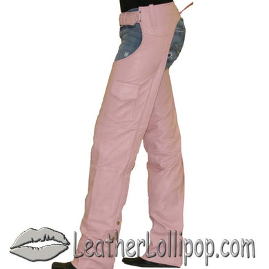 Ladies Pink Leather Motorcycle Chaps With Pocket  - SKU LL-C325-PINK-DL