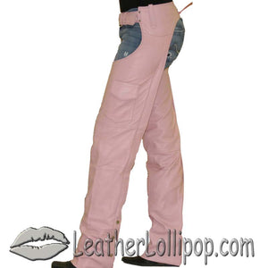 Ladies Pink Leather Motorcycle Chaps With Pocket  - SKU LL-C325-PINK-DL - Leather Lollipop