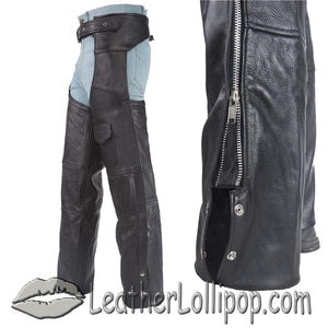 Plain Motorcycle Leather Chaps for Men or Women - SKU LL-C325-04-DL