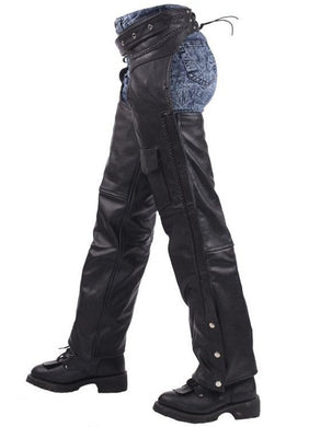 Unisex Leather Motorcycle Chaps With Braid Design - SKU LL-C326-04-DL - Leather Lollipop