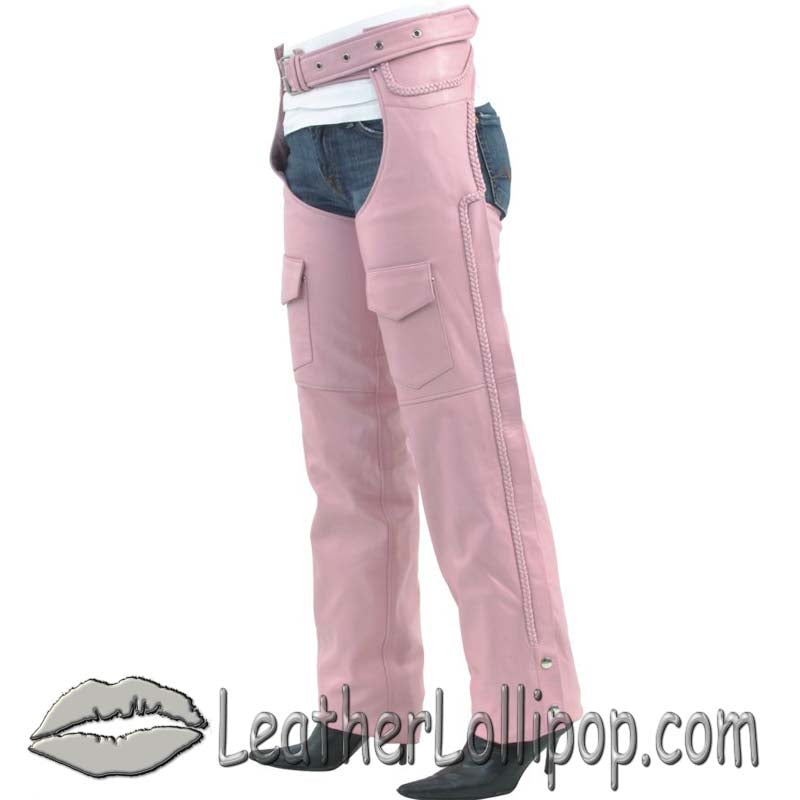 Ladies Pink Leather Motorcycle Chaps With Braid Design - SKU LL-C326-PINK-DL