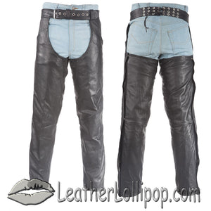 Premium Leather Chaps With Thigh Stretch for Men or Women - SKU LL-C332-01/11-DL - Leather Lollipop
