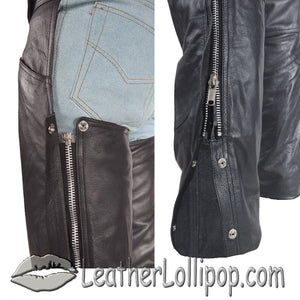 Premium Naked Leather Chaps With Thigh Stretch for Men or Women - SKU LL-C332-DL