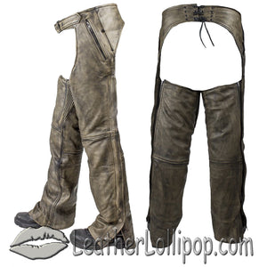 Mens Leather Chaps in Naked Distressed Brown Leather - SKU LL-C334-12-DL - Leather Lollipop