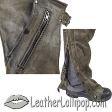 Mens Leather Chaps in Naked Distressed Brown Leather - SKU LL-C334-12-DL