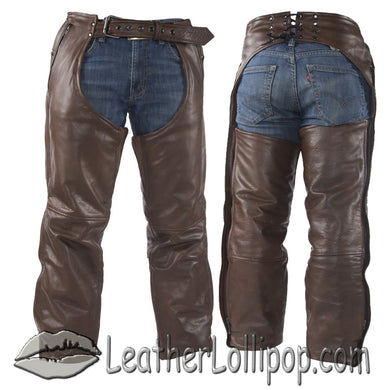 Mens or Ladies Unisex Brown Naked Leather Chaps with Stretch Thigh Panel - SKU LL-C334-BRN-11-DL