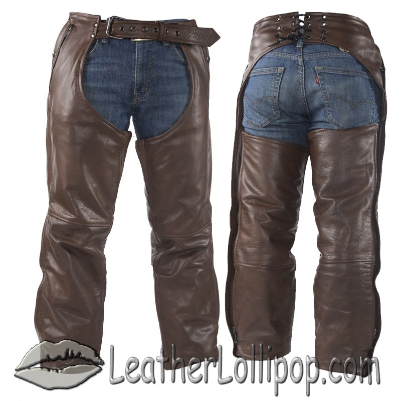 Mens or Ladies Unisex Brown Naked Leather Chaps with Stretch Thigh Panel - SKU LL-C334-BRN-11-DL - Leather Lollipop