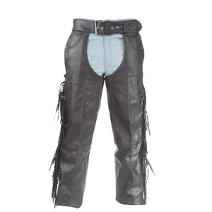 Mens Ladies Unisex Naked Leather Chaps with Braid and Fringe - SKU LL-C337-01/11-DL - Leather Lollipop