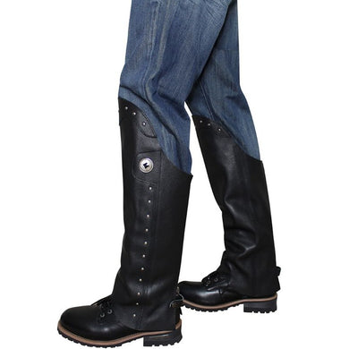 Men's Black Leather Leggings With Studs and Concho - SKU LL-C352-W-DL - Leather Lollipop