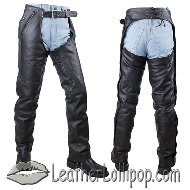 Mens or Ladies Unisex Leather Chaps with Stretch Thigh Panel - SKU LL-C4334-04-DL - Leather Lollipop