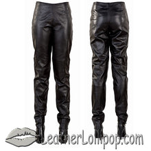 Ladies Hip Hugger Straight Leg Leather Pants - SKU LL-C503-DL