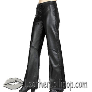 Ladies Hip Hugger Flared Leather Pants - SKU LL-C510-DL