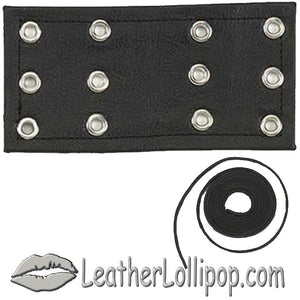 6 Inch Leather Chaps Extension with Leather Lacing - SKU LL-CE2-CE3-GRL