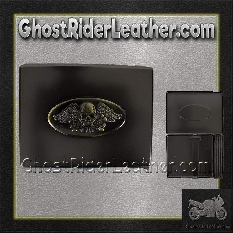 Metal Cigarette Case with Skull and Wings Design on Front - SKU GRL-CG8-DL