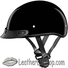 DOT Skull Cap Motorcycle Helmet Flat or Gloss Black - SKU LL-D1A-D1B-DH