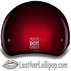 DOT Skull Cap Motorcycle Helmet in Black Cherry Metallic - SKU LL-D1-BC-DH