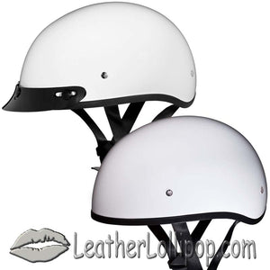 DOT Skull Cap Motorcycle Helmet in High Gloss White - SKU LL-D1-C-CNS-DH