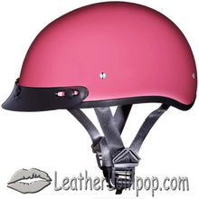 DOT Skull Cap Motorcycle Helmet in High Gloss Pink - SKU LL-D1-D-DNS-DH