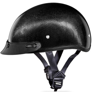 DOT Daytona Skull Cap Real Carbon Fiber Motorcycle Helmet With Or Without Visor / SKU GRL-DS-G-GNS-DH