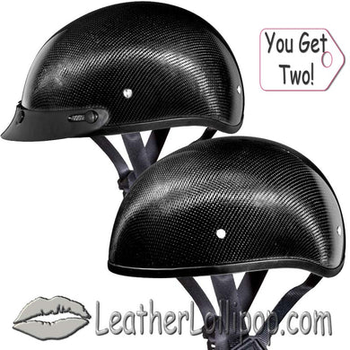 His and Hers Real Carbon Fiber DOT Daytona Skull Cap Motorcycle Helmets With Or Without Visor -SKU LL-DS-G-GNS-X2-DH - Leather Lollipop