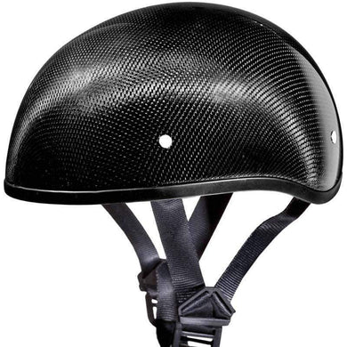 Real Carbon Fiber DOT Daytona Skull Cap Motorcycle Helmet With Or Without Visor -SKU LL-DS-G-GNS-DH - Leather Lollipop