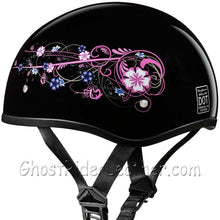 Eagle Style with Flowers DOT Approved Motorcycle Helmet / SKU GRL-D6-FLO-DH