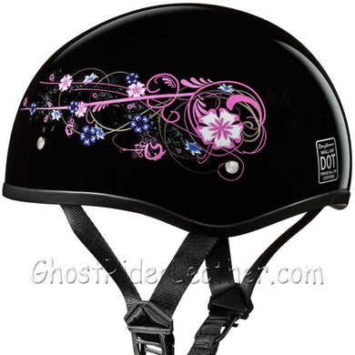 Eagle Style with Flowers DOT Approved Motorcycle Helmet / SKU GRL-D6-FLO-DH - Leather Lollipop