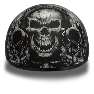 DOT Approved Motorcycle Helmet With Skull and Smoking Guns - SKU LL-D6-G-DH