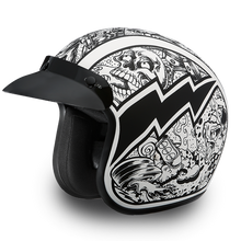 DOT Daytona Cruiser Graffiti Design Open Face Motorcycle Helmet - SKU LL-DC6-G-DH